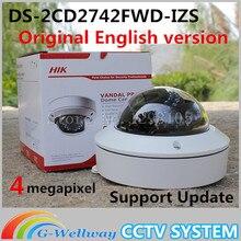 На складе Бесплатная доставка английская версия DS-2CD2742FWD-IZS Аудио, POE WDR Переменным Фокусным 4MP Моторизованный Объектив Купольная Сетевая Ip-камера