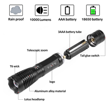 Lanterna Led CREE XM-L T6 Tactical Flashlight 10000Lumens LED Torch Zoomable LED Light+18650 battery+charger+holster+Free box