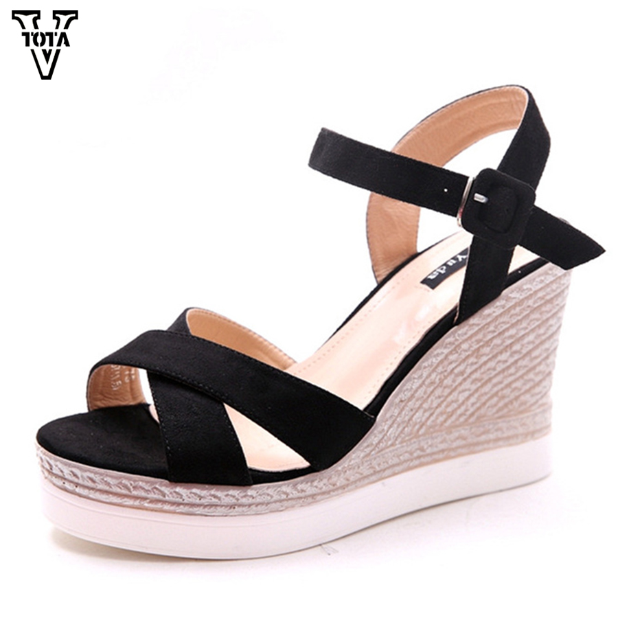 2017 Fashion Sandals Woman Gladiator High Heels Platform Shoes Wedges Open Toe Women Sandals zapatos mujer Summer Shoes X28 2017 summer new rivet wedges sandals creepers women high heel platform casual shoes silver women gladiator sandals zapatos mujer