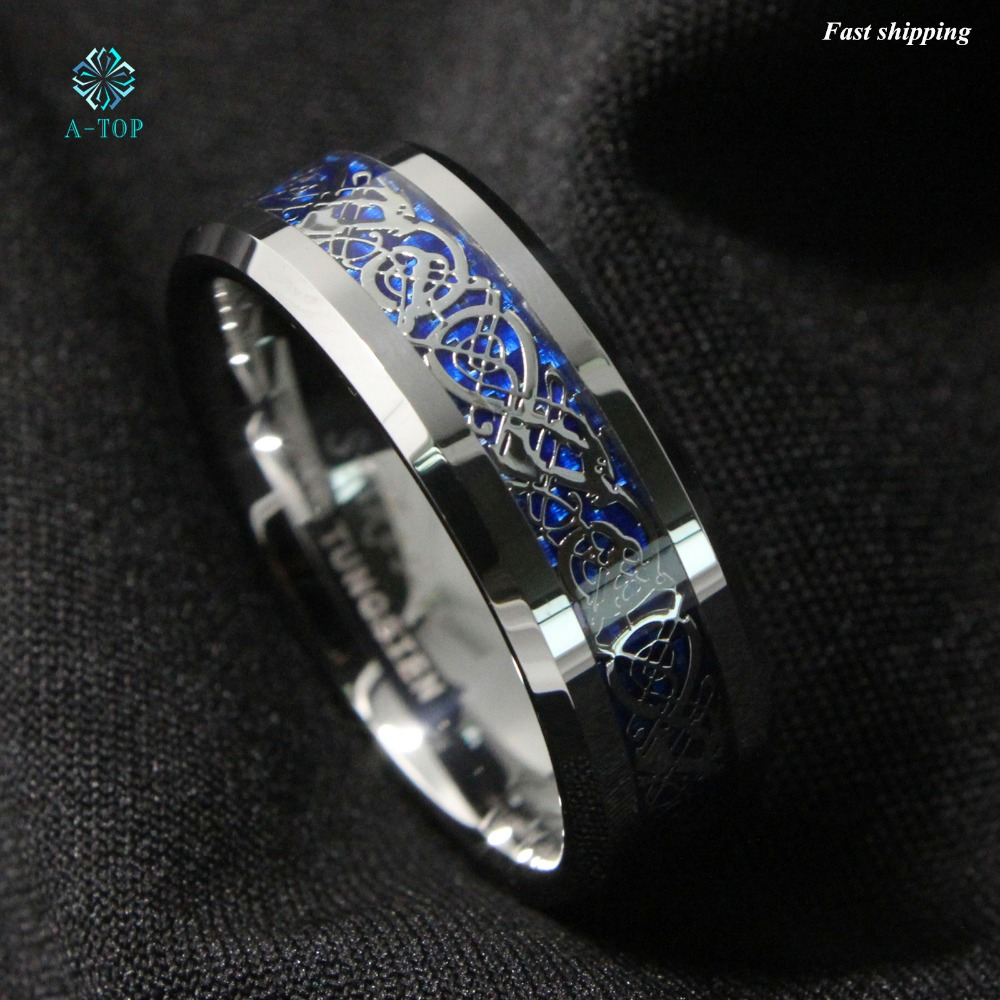 8mm Silvering Dragon Tungsten Carbide Ring Mens Jewelry