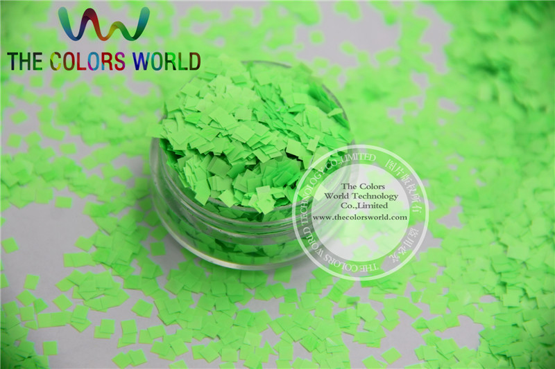 N-1 Size 2.5 mm Solvent Resistant Neon Green color Glitter Square shape spangles for Nail Art  and DIY supplies1pack=50g