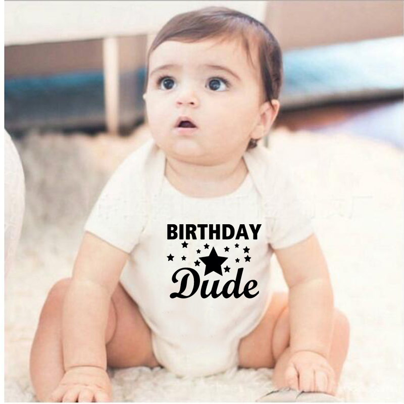 2020 Baby Boys Girls Newborn White Cotton Short Sleeve Romper Birthday Dude Letter Printed Infant Jumpsuit Playsuit Outfits