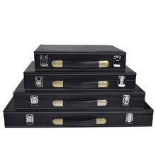 New Good quality professional luxury portable black leather counter wooden box 200 code yard box chips poker carrying cases bag