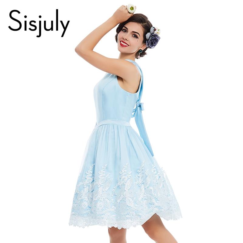 Sisjuly vintage dress blue floral print pin up lace party 1950s style women dress cute elegant