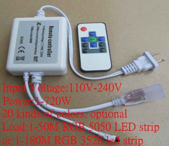 220v wireless remote control rgb led strip controller FOR 110V 120V 220V 230V 240V SMD 3528 5050 Flexible Flat LED Strip