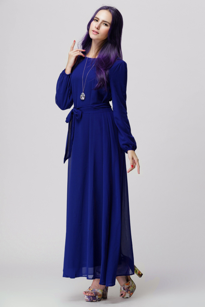 Popular Long Sleeve Chiffon Maxi Dress-Buy Cheap Long Sleeve ...