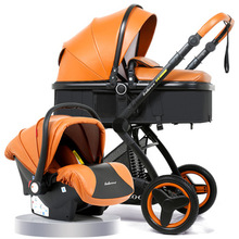 Luxury PU Baby Stroller 3 in 1 With Car Seat Aluminum Alloy High Landscape Pram For Newborns Travel System