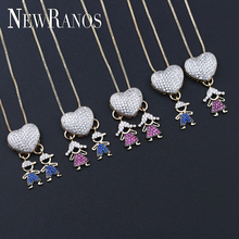 цены на Newranos Girl Boy Pendant Necklace Love Heart Necklace Pave Cubic Zirconia Family Love Kids Pendants fr Women Jewelry NGY0017482 в интернет-магазинах