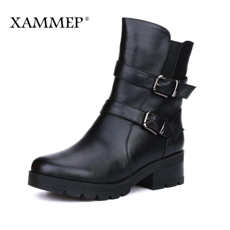 Femmes D'hiver Chaussures Femmes Véritable En Cuir Naturel Laine Bottes Marque Femmes Chaussures Haute Qualité Mi-mollet Bottes Avec Plate-Forme Xammep