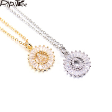 Pipitree Copper White Cubic Zirconia 26 Alphabet Letter Pendant Necklaces A-Z Initial Charm Chain Necklace Women Jewelry Collar