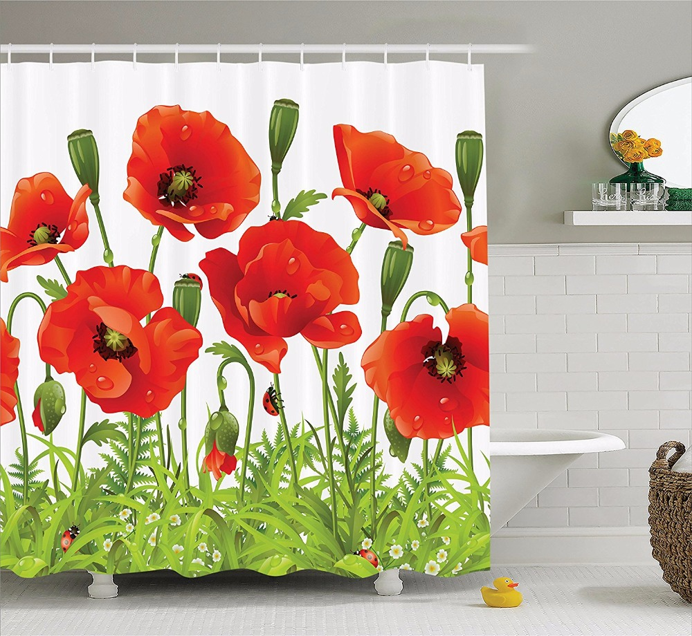 High Quality Arts Shower Curtains Poppy Red Flowers Green Leaf