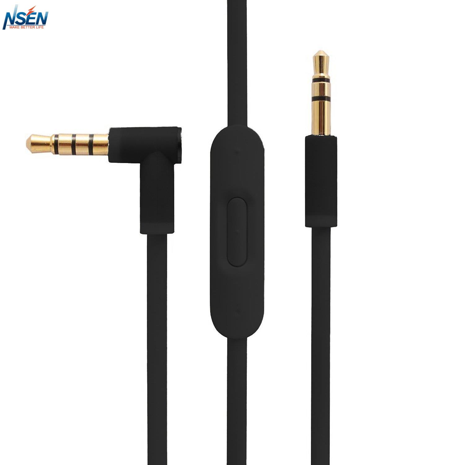 Replacement Audio Cable with Inline Remote Microphone for Beats SoloHD Studio Pro Detox Wireless Studio 2.0 Solo Headphones
