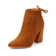 Rough-heeled Shoe Girl 2018 New Suede Top Slim Sexy Two Kinds Of Fashion women High-heeled Shoes With 9 Cm Inside Heel