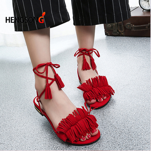 538aadc508ba Shoes Women Sandals Summer New Sweet Tassel Buckle Zapatos Mujer Sweet Flat Toe  Wedge Floral Straps Red Heels Shoes RV912188-in Women s Sandals from Shoes  ...