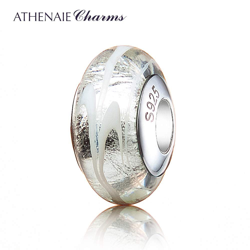 ATHENAIE 925 Silver Core Silver White Stripe Murano Glass Charms Beads Fit European Bracelets Gift For Wife,Girlfriend,Women