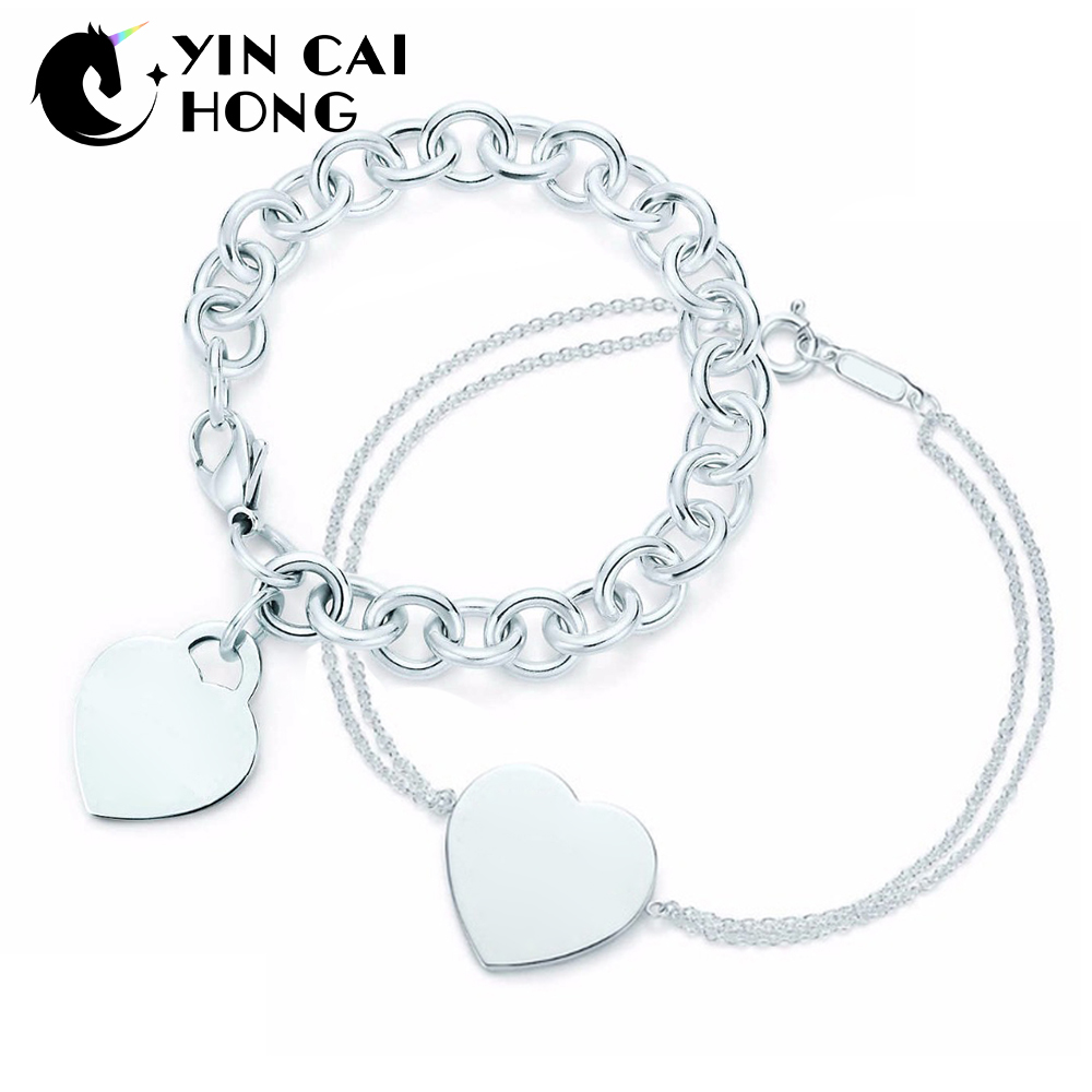 YCH Charm for Gifts 925 Sterling Silver Heart Shaped Womens Elegant Tiff Bracelet Lock Tiff Bracelet Silverware Matching WorldYCH Charm for Gifts 925 Sterling Silver Heart Shaped Womens Elegant Tiff Bracelet Lock Tiff Bracelet Silverware Matching World