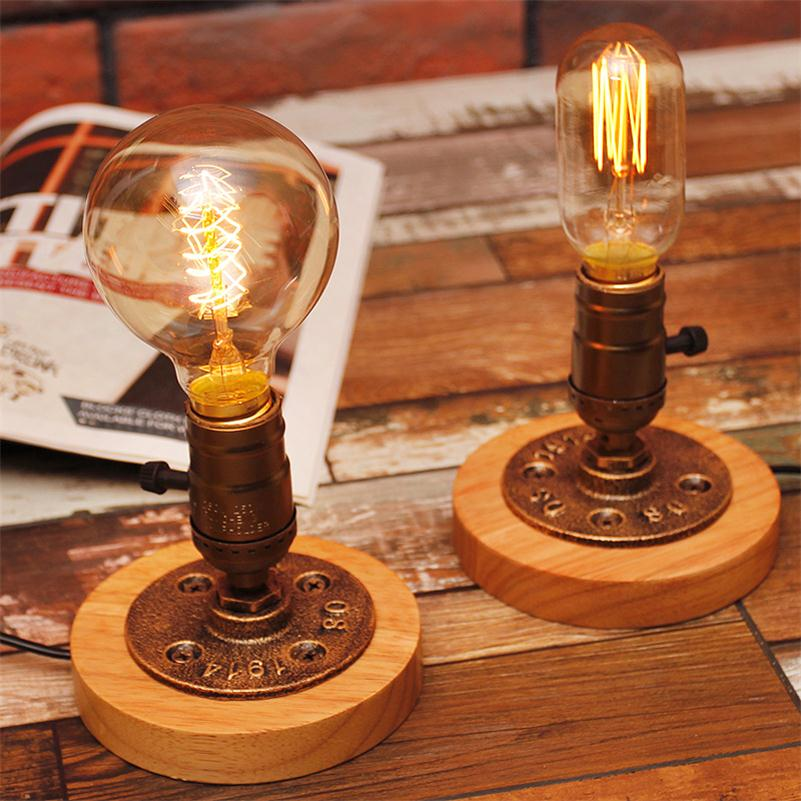 edison bulb table lights american rural solid wood desk lamps touch dimmer switch book light vintage