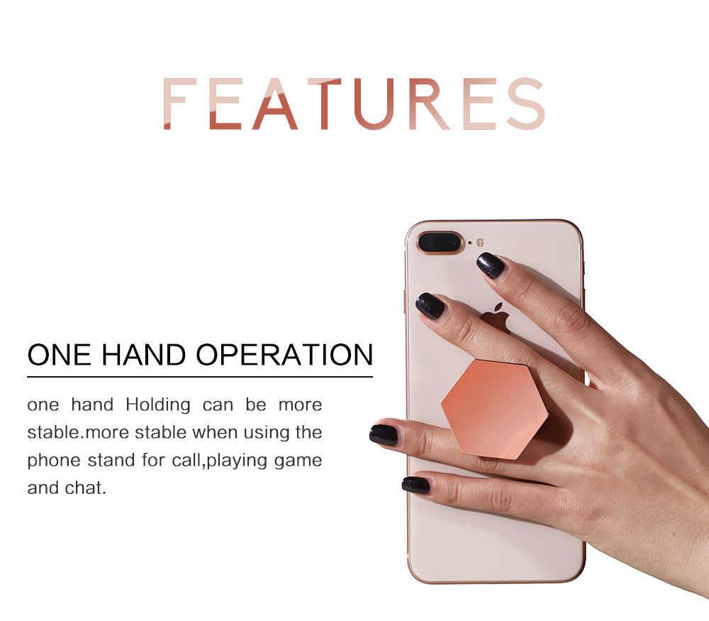 Soporte de anillo de dedo Universal chapado hexágono agarre extensible soporte de anillo de teléfono móvil para iPhone X 7 soporte de soporte