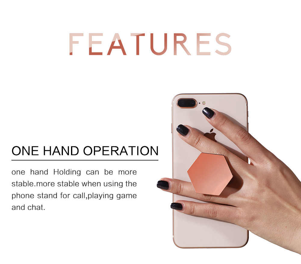 Universal Finger Ring Holder Plating Hexagon Grip Extending Stand Car Mobile Phone Ring Holder For iPhone X 7 Support Stand