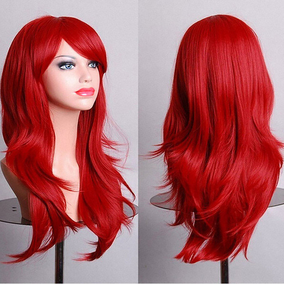 JINKAILI Long Curly Synthetic Cosplay Wigs Red For Women Natural Blond Hair Heat Resista ...