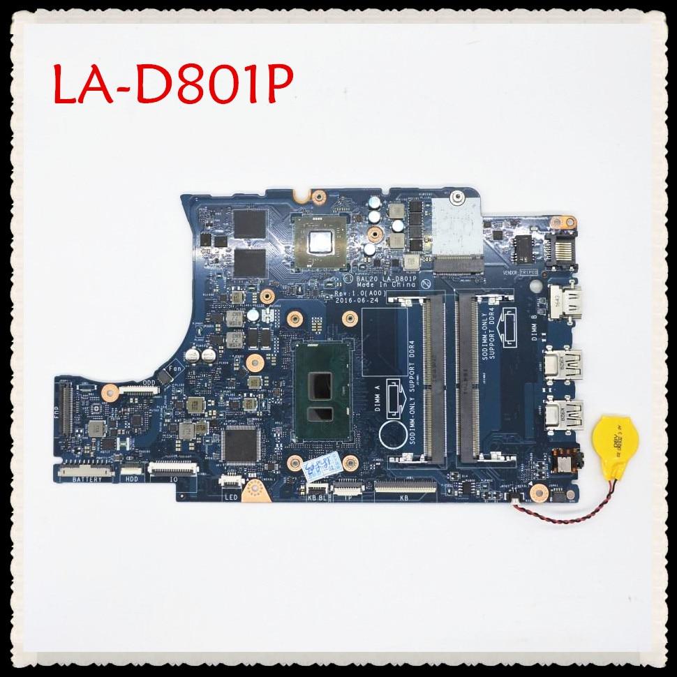 For Dell 5567 5767 motherboard I5-7200U CPU BAL20 LA-D801P CN-0Y8N7H 0Y8N7H