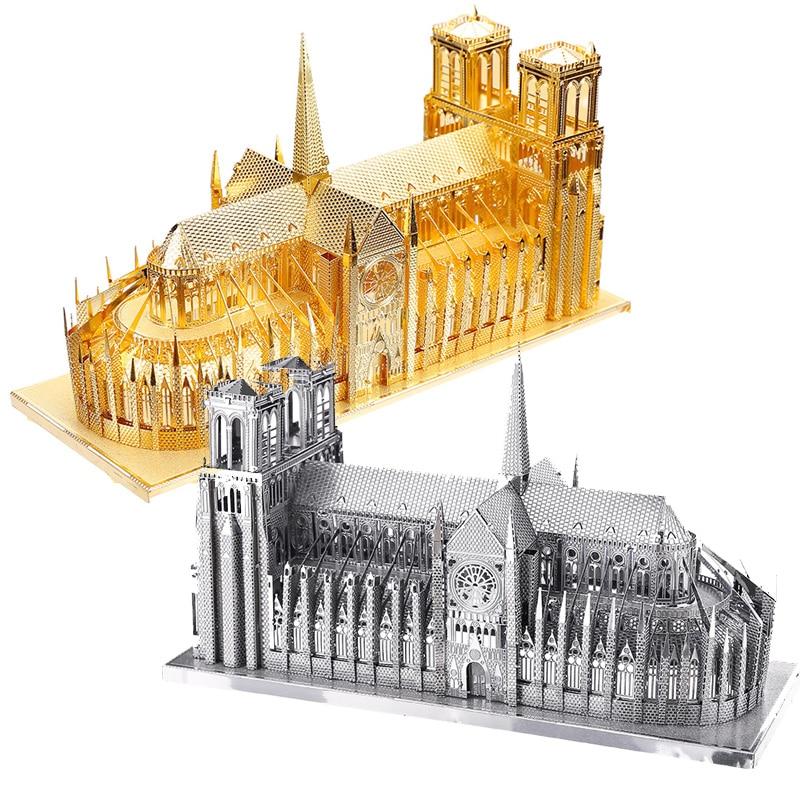 Piececool Notre Dame Cathedral Paris P016-G Building Model DIY 3D Assembling Laser Cut Metal Jigsaws Puzzle Toys - Gold
