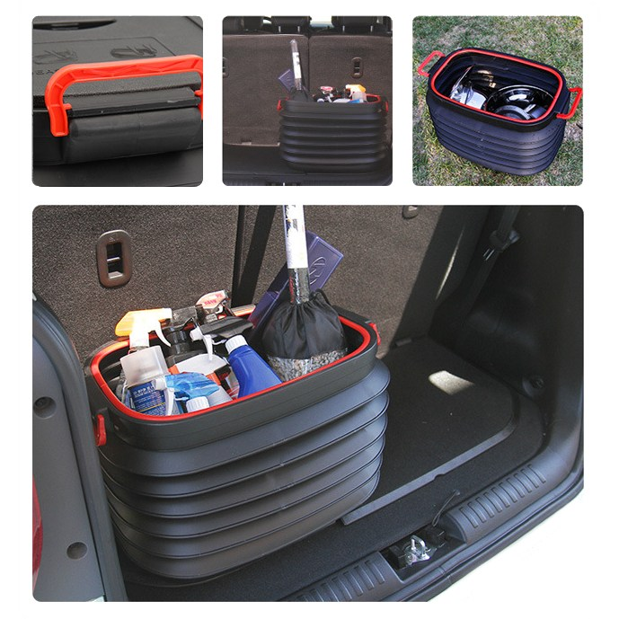 Outdoor Tool 37L Camping Washing Water Car Folding Fishing Telescopic Bucket With Cover Beach Portable Storage Box Organizer