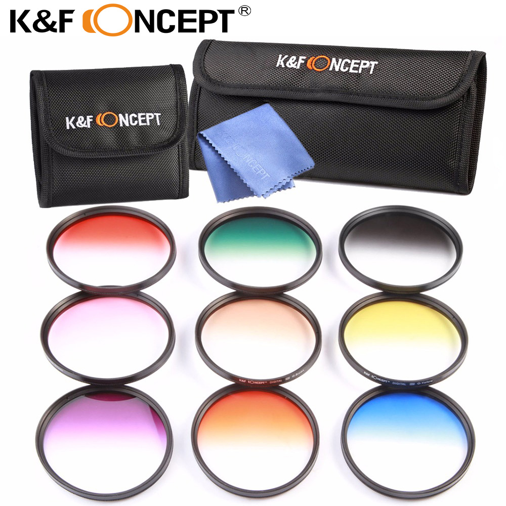 K&F CONCEPT 9pcs 77mm Graduated Color Filter Set Lens Filter Kit for Canon 6D 5D Mark II 5D Mark III for Nikon D610 DSLR Cameras потребительские товары cs pro cs 1 dslr 6d canon 5d 3 7 d t3i d800 d7100 d3300 pb039