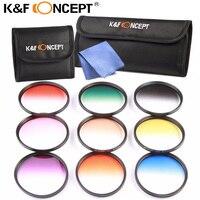K&F CONCEPT 9pcs 77mm Graduated Color Filter Set Lens Filter Kit for Canon 6D 5D Mark II 5D Mark III for Nikon D610 DSLR Cameras