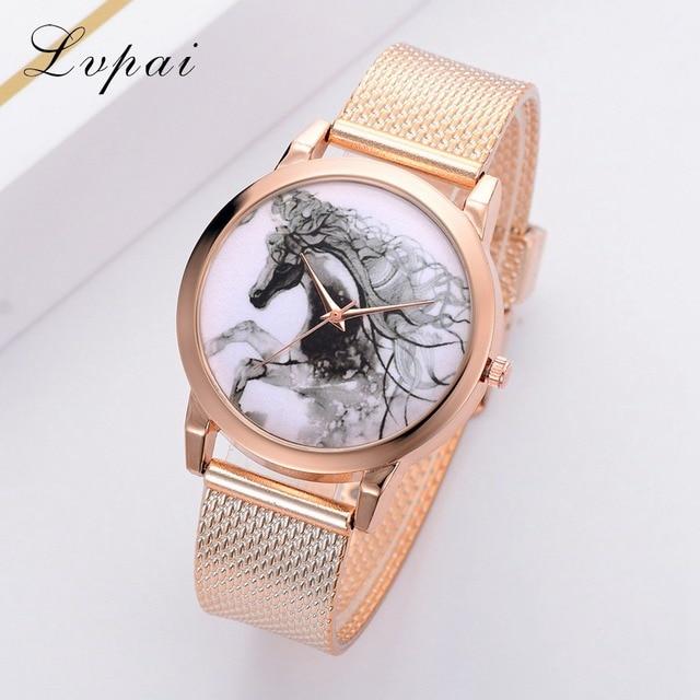 Lvpai Top Brand Watches Women Fashion Luxury Rose Gold Strap Quartz Sport Watch