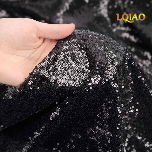 1 Yard Glitzy Black  Embroidered Sequin Fabric Material Mesh Lace Sequin Fabric For Clothes Dress Wedding Decoration Table Cloth