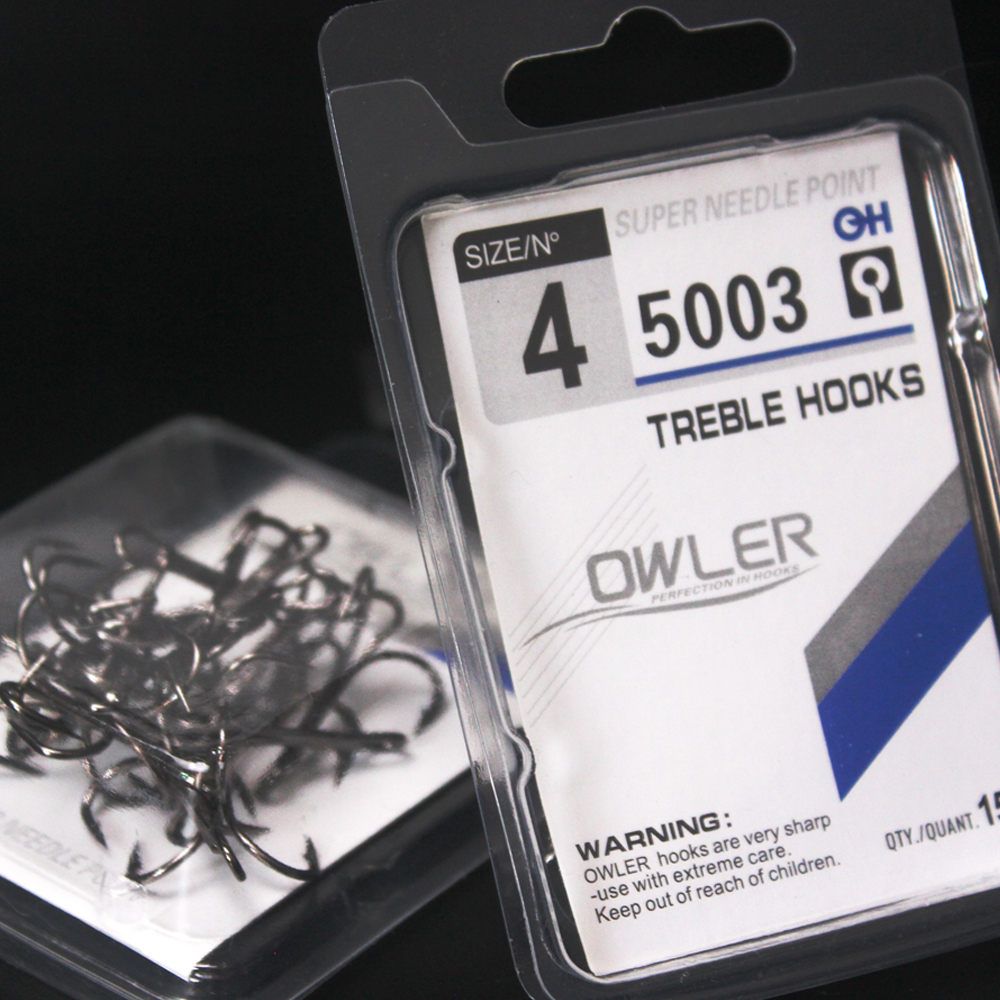 15pcs/box 5003 Owner Treble Hooks Black Nickel Size 1/2/4/6/8/10/12/14# Steel Carbon Material Barbed Hook Round For Pike Bass