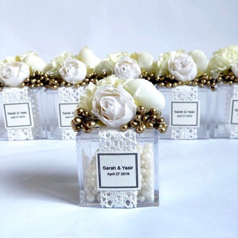 3 Transparent Acrylic Flower Beads 45mm Chocolate