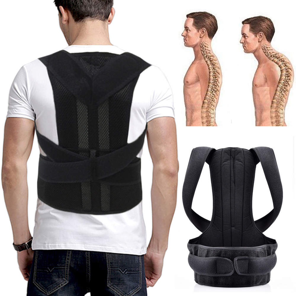 Unisex Adjustable Back Posture Corrector Brace Back Shoulder Lumbar Back Support Belt Orthopedic Posture Men Women Black Corsets aibikang steel posture corrector back brace and adjustable double pull shoulder back support belt xxl 52 black