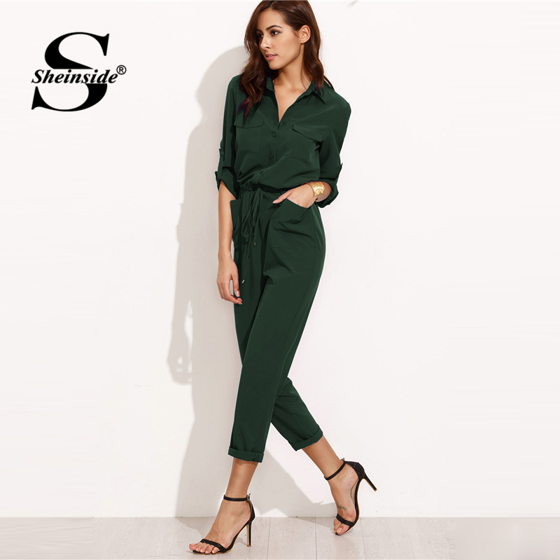 760bf61fb64c Sheinside Green Autumn Jumpsuit Woman Clothes Jumpsuits For Women 2018  Overalls Tie Waist Rolled Sleeve Equipment Jumpsuit -in Jumpsuits from  Women s ...