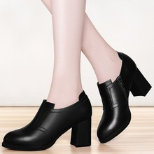 Ladies Soft Sheepskin Leather Square High Heel Pumps Fashion Round Toe Spring Autumn Party Shoes Women YG-A0244