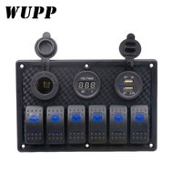WUPP 6 Gang ON OFF Toggle Cigarette Lighter Car Charger Dual USB Switch Panel Socket Voltmeter Circuit Breaker for RV Truck
