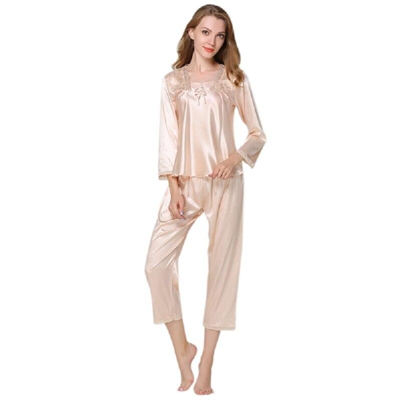 Spiring Autumn Women Ladies Sexy Flower Lace Satin Silk   Pajamas     Sets   Long Sleeve Tops+Pants Sleepwear Femme Nightwear Pyjama New