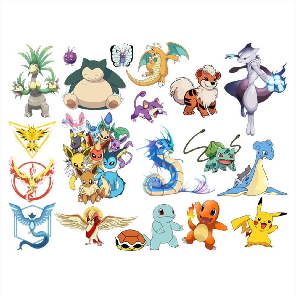 16 Tipos de Tatuajes de Dibujos Animados Pokemon Pikachu de Pegatinas de Pared p