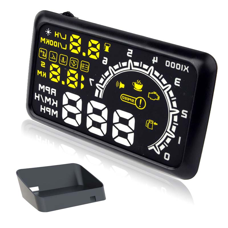 "5.5"" Screen Auto Car HUD OBD2 Port Head Up Display KM/h MPH Overspeed Warning Windshield Projector Alarm System + Bracket"