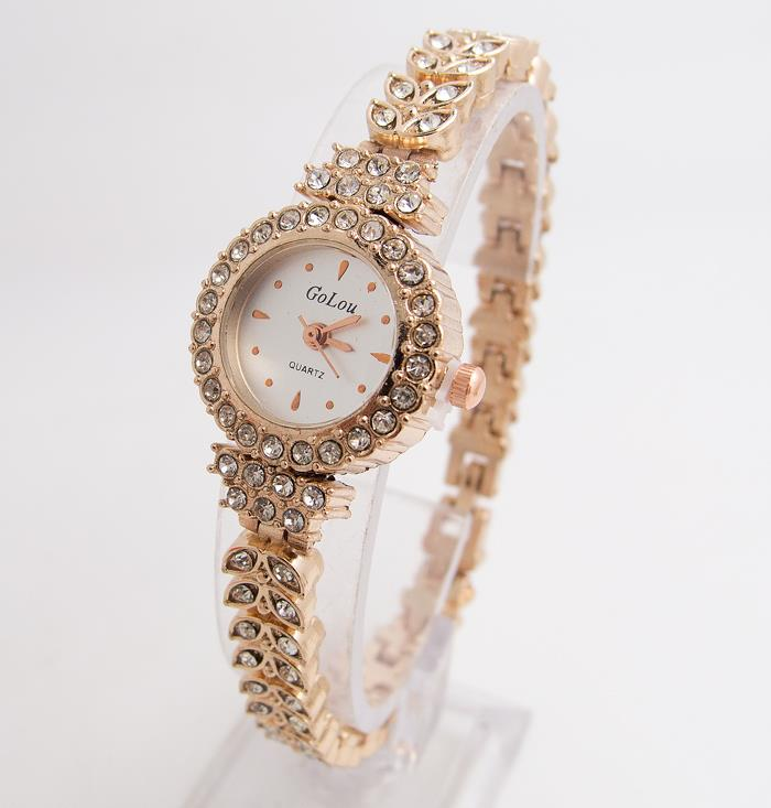 Hot Sales Rose Gold Bracelet Watches Women Ladies Fashion Shining Crystal Dress Quartz Wristwatch Rhinestone Watch G-022