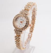 Hot Sale women fashion Full Gold Crystal Quartz watch Wrist watches Ladies hour clock relojes relogio feminino G-022 HAI