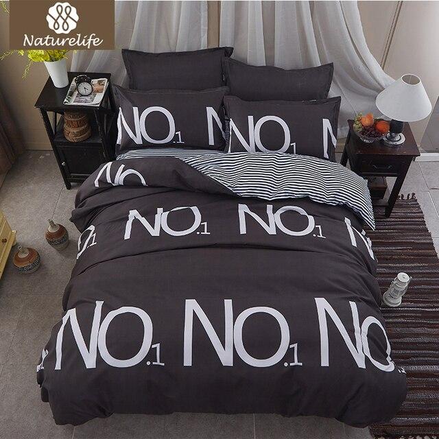 Naturelife Plaid Bedding Set Soft Sanding Duvet Cover Set Bedsheet