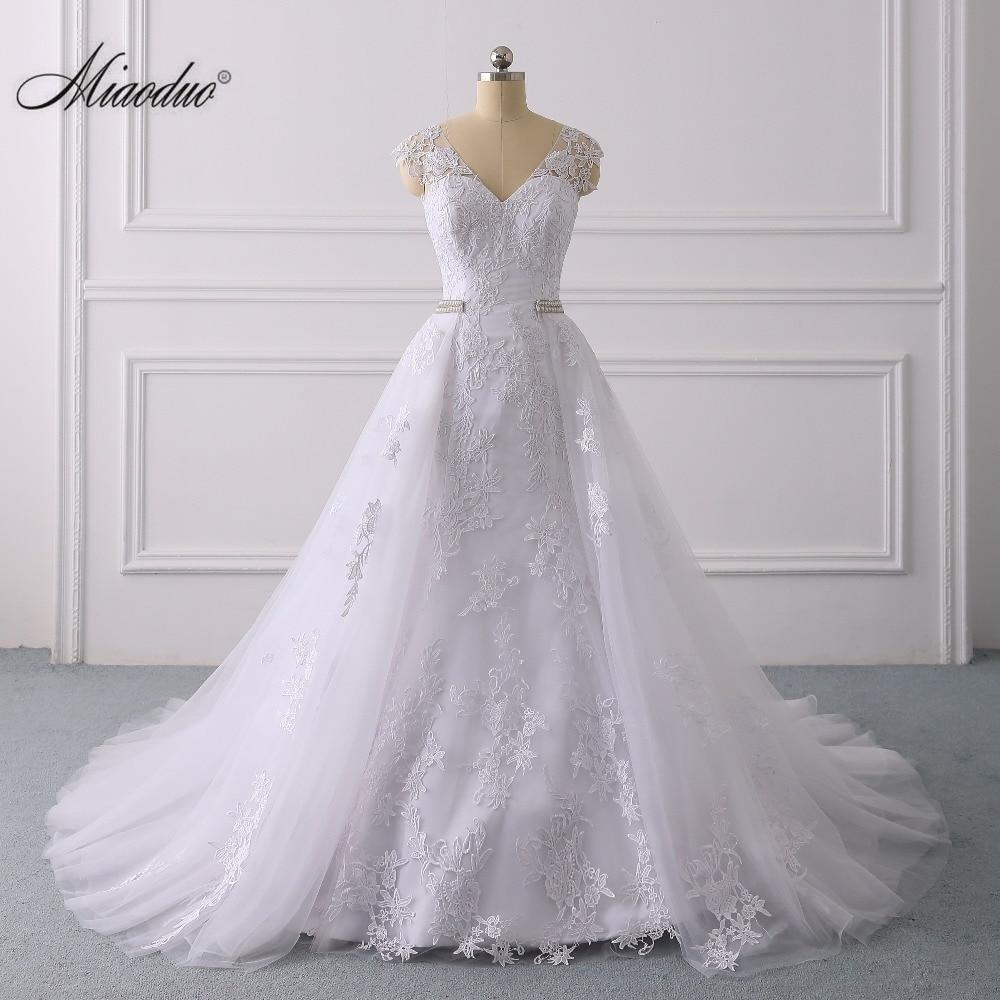 Mermaid Wedding Dress With Detachable Skirt 2 In 1 Backless Saudi Arabia Bridal Wedding Gowns Dubai Trouwjurk 2020