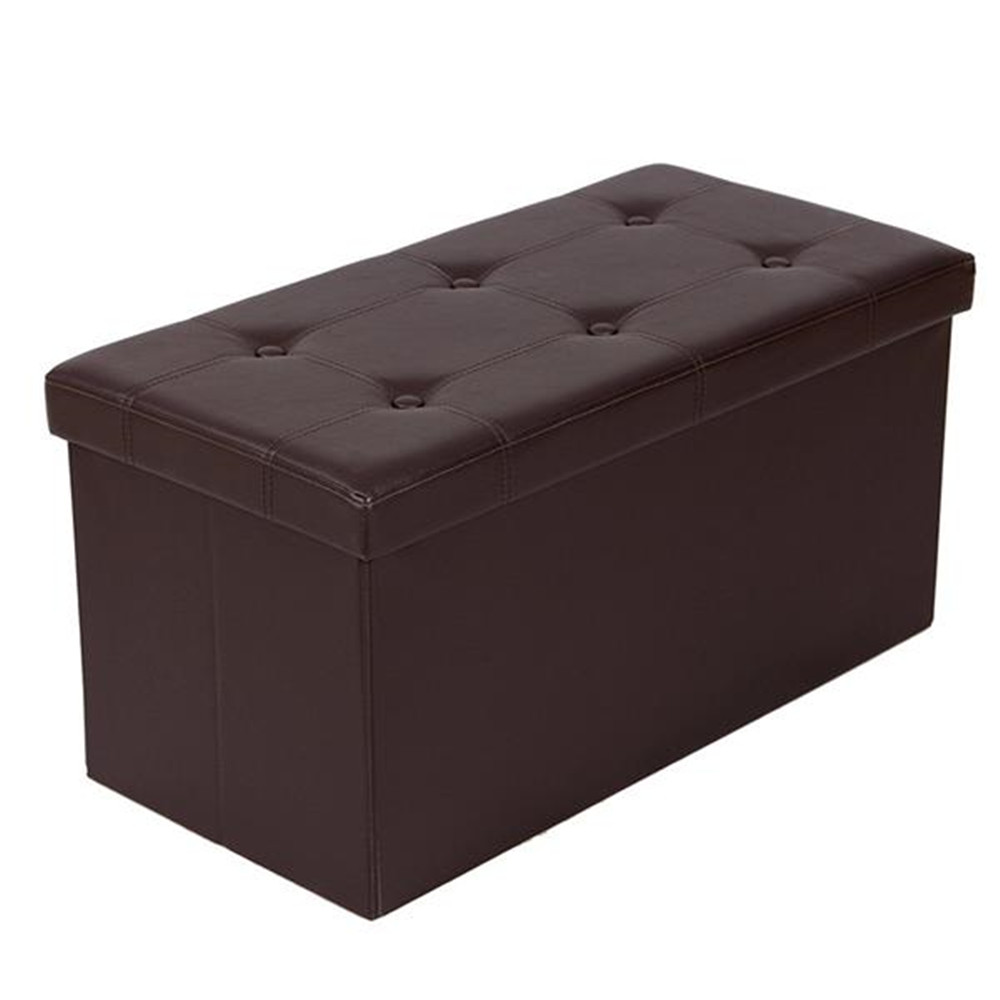 F-02L Practical PVC Leather Rectangle Shape Surface with Line Footstool Brown for bedroom Living room