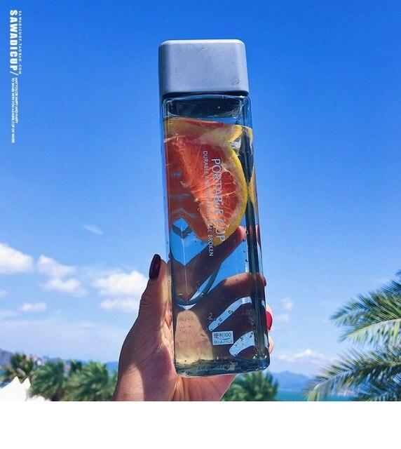 Cute New Square Heat Resistant 500ml Tea Milk Fruit Water Bottles