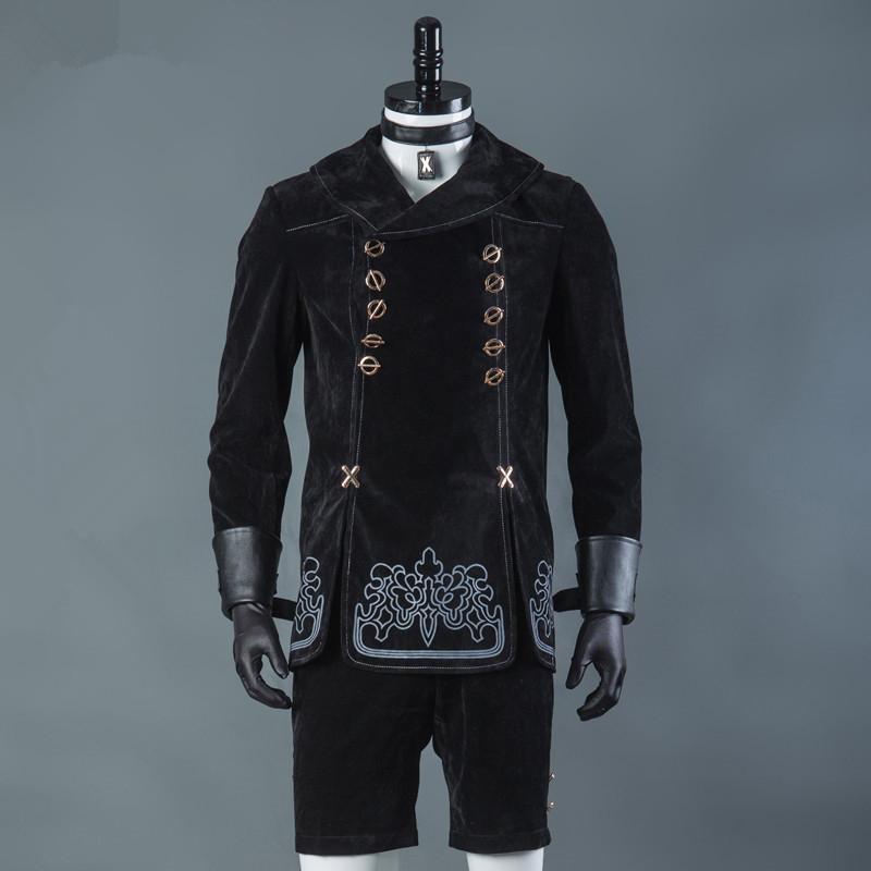 Hot Games NieR Automata 9S Cosplay Kostymer Män Fancy Party Outfits Coat YoRHa No. 9 Typ S Full Set för Halloween