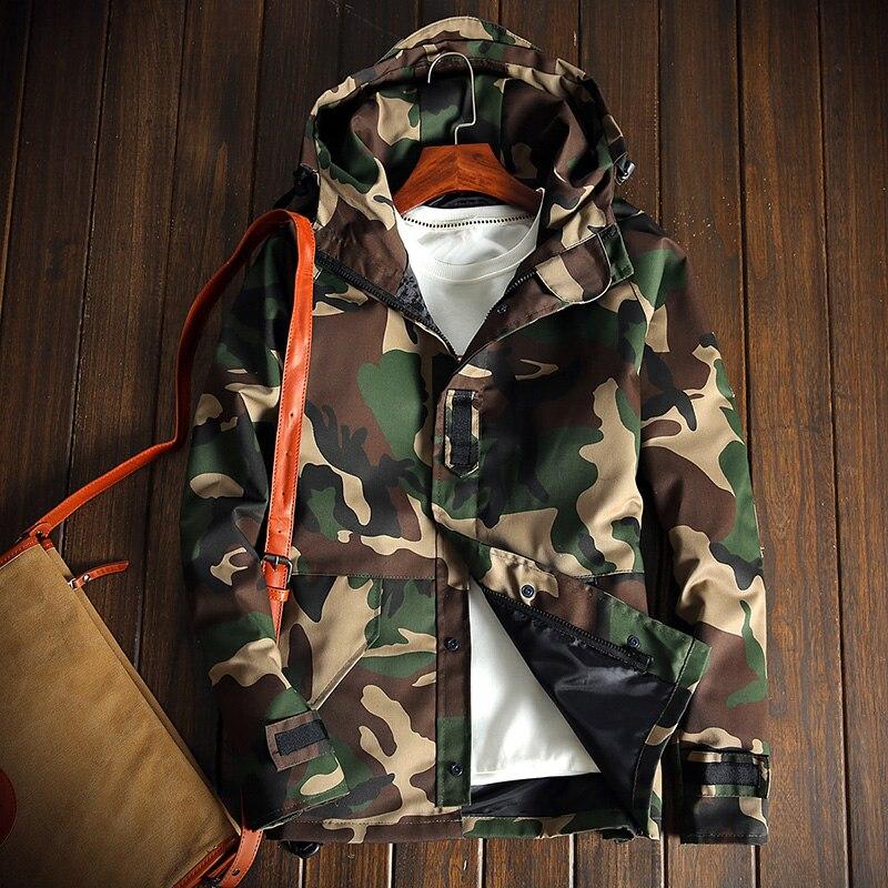 YuWaiJiaRen Fashion Mens Camouflage Jacket Military Style Casual Male Windbreaker Coat Tactical Hooded Jacket for Men