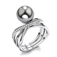 New Arrivals Free Shipping Vintage Women Rings White Cz Imitation Grey Pearl Ring High Quality Wedding