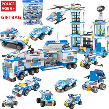 City Police Station SWAT Vehicle Building Blocks Juguetes Technic Bricks Playmobil LegoINGLs Minecrafteds Brinquedos Toys Gifts city police swat helicopter car building blocks compatible legoingls brinquedos bricks playmobil educational toys for children